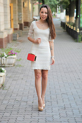 Altynai Imanova - H&M Dress, River Island Bag - White lace dress