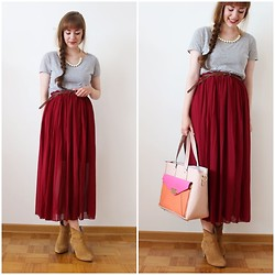 Maria Station - Oasap Maxi Skirt, Lydc Bag - Burgundy maxi skirt