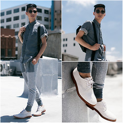 Tommy Lei - Matiere Linen Denim Shirt, Matiere Jogger Trousers, Walk Over Suede Oxford Shoes, Tom Ford Wayfarer Sunglasses - MODERN BLUES