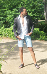 Couture Conception - Zara Technical Blazer, Franco Sarto Sandals, Denim Short - On the Run