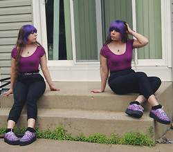 Amethyst . - Wet Seal Crop Top, Forever 21 Capri Trousers, Walmart Kid's Section Shimmer Belt, The Rockstar Goddess Amethyst Necklace, Sockdreams Lace Trimmed Socks, T.U.K Creepers - Why don't you sit right there and stay awhile?