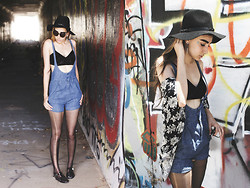 Ashley Ballard - Urban Outfitters Hat, Nollie Lace Bralette, Aldo Jellies, Vintage Dungarees - IT'S FESTIVAL SEASON