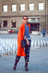 Margaret Zhang - Frontrowshop Mirrored Frames, Topshop Red Coat, Topshop Striped Sweater, Michael Kors Quilted Bag, Topshop Tailored Trousers, Topshop Cut Out Boots - Top of the Morning