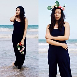 Shauna Voon - Forever 21 Navy Maxi Jumpsuit, Forever 21 Pastel Statement Necklace - Navy by The Vast Sea