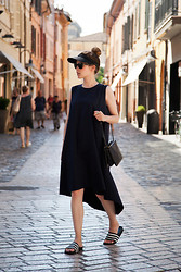 Christine R. - Own Design Dress, Céline Bag, Adidas Adilette Slides - From Italy