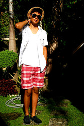Mark Adaya - Esprit, Edc Button Down Polo, Cotton On Checkered Shorts, Cotton On Hat, Prp Shades - Summer Never Ends