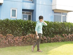 Dappermanna - Penshoppe Mint Green Longsleeves, Cotton On Olive Green Pants, Sperry Top Sider A/O Relaxed Dk Brown/Olive - Green on Green