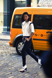 Margaret Zhang - Bec & Bridge Leather Tee, Bec & Bridge Leather Trousers, Helmut Lang Heels - NYC Isosceles