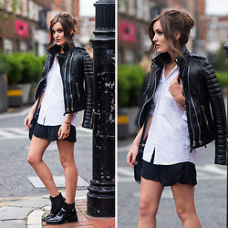 Anouska Proetta Brandon - Boda Skins Leather Biker Jacket, Primark Shirt, H&M Shorts, Zara Booties - Birthday Suit.