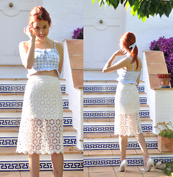 Laia N - Topshop Gingham Top, Oasap Lace Skirt, Mango White Heels - Summertime sadness
