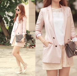 Mayo Wo - Initial Pale Pink Blazer, Romwe Scalloped Top, Frontrowshop Sequined Shorts - Best pink blazer