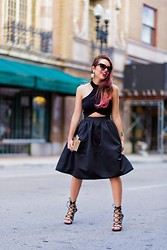 Daniela Ramirez - Express Skirt, Furor Moda Crop Top, Shoedazzle Shoes - All black and my new pink hair