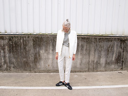 Zoé Hermsen - Blackblessed Jacket, American Apparel Shirt, Monki Trousers, Adidas Shoes - Black White