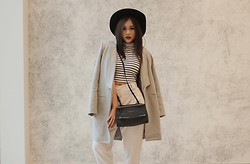 Anniepop Nguyen - American Apparel Twill Pants, Polly Princess Cropped Halter, Lioness Wool Grey Coat, The Iconic Fedora Hat, Givenchy Pandora Bag - Grey Skies and Grey Coats