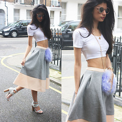 Roshini Daswani - Asos Bonded Sweat Midi Skirt With Contrast Hem, River Island Lilac Feather Cross Body Bag, Coco's Liberty Diamond Necklace - Bradshaw fashion moment