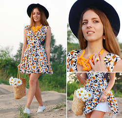 Iren P. - Accessorize Navy Blue Felt Fedora Hat, Diy Knot Twine Statement Yellow Necklace, Chic Wish Daisy Printed Dress With Navy Mesh Inserts, Asos White Perforated Leather Brogues, Straw Shopper Bag, Handmade Daisy Ring And Earrings - DAISY & NAVY
