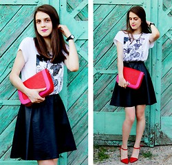 Alina Krasnaya - H&M Skirt, Colin's Tee, Pull & Bear Heel, New Look Bag, Mohito Necklace - BEHIND THE GREEN DOOR