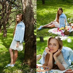 Alena Vorontsova - Zara Dress, Zara Jacket, Topshop Sneakers, Shlomit Ofir, Blanco Bracelets - Picnic