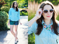 Kelsey W - Smart Couture Necklace, Target Chambray, Gap Shorts, Aeropostale Flats, Forever 21 Sunglasses - Coloring Book