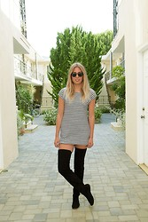 Sara Moeller - Madewell Dress, Isabel Marant Knee High Boots - STRIPE IT UP.