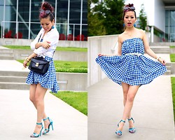 Aika Y - Asos Glamorous Midi Skirt In Gingham Print, Asos White Shirt, Aldo Retro Sunnies, Justfab Satchel Bag, Shoe Cult Metallic Blue Sandals - Ocean Blue Gingham