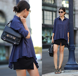 Adriana Gastélum - Chic Wish Oversized Shirt, Proenza Schouler Ps11, Giuseppe Zanotti Leopard Heels - Nothing but poise