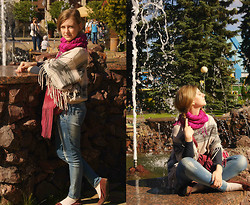 Aleksandra B. - Topshop Poncho, Pull & Bear Suede Handbags, Calliope Blue Jeans, New Look Suede Moccasins - AMUSEMENT PARK
