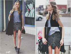 Sonya Esman - Spell & The Gypsy Skirt, Alexander Wang Bag, Oak & Fort Vest, Modern Vice Boots - The gypsy silk skirt.