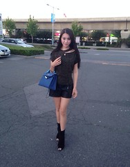 Weymi Cho - Forever 21 Black Short, Hermës Blue Kelly, Gucci Black Boots - Casual