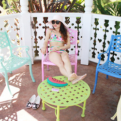 Toshiko S. - Forever 21 Light Pink Floppy Hat, Forever 21 Abstract Neon Bikini Top And Bottom, Nila Anthony Watermelon Clutch, Chanel Quilted Ballet Flats - Madonna Inn Part 1: The Pool