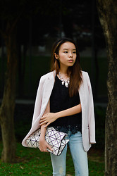 Desiree Liew - H&M Pale Pink Blazer, H&M Ripped Jeans - Pale and Cuffed