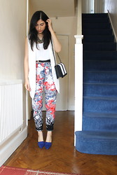 Ra Ra - River Island Floral Trousers, Zara Blue Pointed Heels - Cobalt