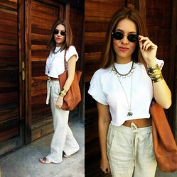 Ivona - Zara Linen Trousers, Diy Cropped Tee, H&M Gold Cuff, Lodon Rebel Gold Gladiators, Ray Ban Round Sunglasses, Accessorize Elephant Necklace, Accessorize Gold Chain - Summer neutrals <3