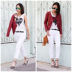 Amy Lai - Polarized Sunnies, Foreign Exchange Faux Leather Jacket, Joy Rich I Love L.A. Tee, J Brand Jeans, Ross Fringe Bag, Michael Antonio Heels - I Love L.A.