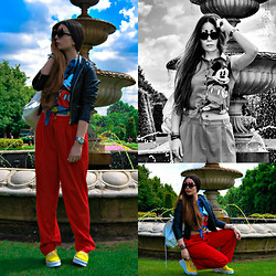 Litsiana K. - Vintage Oversized Pants, Primark Sleeveless Shirt, Primark Backback, Anel Leather Jacket, Dolce & Gabbana D&G Watch, Adam`S Shoes, Primark Minnie Shades - Mickey, you are my hero!