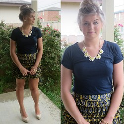 The Rambunctious Rose - Claire's Flower Necklace, Abercrombie Blue T Shirt, Guess? Nude Shoes, Plato's Closet Pattern Skirt - Sunday, June 22nd 2014