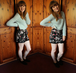 "Beth Kennett - Topshop Fluffy Cropped Jumper, Missguided Statement Necklace, Topshop Floral Lace Trimmed Skirt, Primark Plain Black Trainers - ""Is That A Fly? Oh No, It's Just A Bit Of Fluff..."""