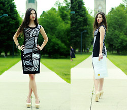 Cassandra Giugno - Michael Tyler Collection Graphic Printed Dress, Promise Nude Pumps, Shelley Crystal Bracelet - Graduation