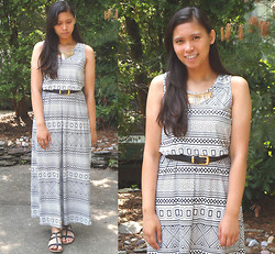 Allyson M - Ross Maxi Dress, Thrifted Belt, Forever 21 Strappy Sandals - Printed Maxis & Golden Hardware