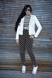 Lauren H - Forever 21 White Studded Moto Jacket, Forever 21 Black And White Crop Top, Forever 21 Polka Dot Leggings, Charlotte Russe White Boots - On Top of the World