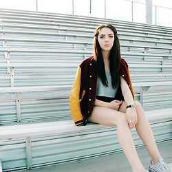 Emma Noelle - Vintage Boston University Letterman Jacket, Topshop Striped Crop Top, Bdg High Waisted Shorts, Fossil Watch, Converse - Smells Like Teen Spirit