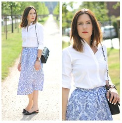 Second Agenda - H&M Skirt, Chanel, Hermës Watch, Brooks Brothers Shirt, Mango Flats - Blue skirt