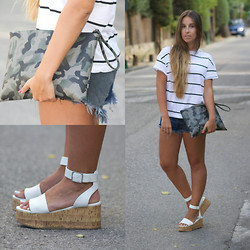 Claudia Villanueva - Zara Top, Frontrowshop Clutch, Nasty Gal Shorts, H&M Sandals - Mixing Prints: Stripes and Camo