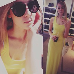 Rinka Essel - Goodwill Maxidress, Zara Purse, Bikbok Sunglasses - Yellow