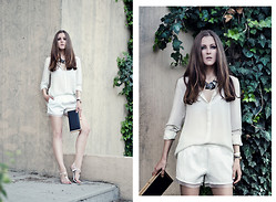Katerina Kraynova - Wholesale7 Shorts, Blackfive Necklace, Mango Blouse, Steve Madden Clutch, Tory Burch Shoes - White Sand