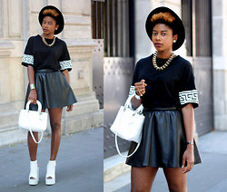 Oriane Adjibi - Missguided Dress, River Island Hat, H&M Necklace, Christian Dior Bag, H&M Skirt - MONOCHROME