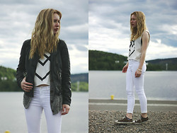 Miia K - Bikbok Jeans, Carlings Top, Forever 21 Cardigan - Cloudy
