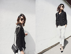 Miu N - Debenhams Jacket, Rodebjer Shirt, Hugo Boss Shoes, Hunkydory Pants, Chanel Bag, Prada Sunglasses - Black & White