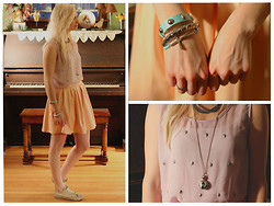 Kaitlin - Lavender Skull Shirt, Nordstrom Leather Peach Skirt, Converse, Gift Audrey Hepburn Necklace - Pastels
