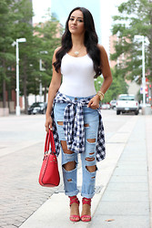 Mayte Doll - Bodysuit, Forever 21 Destroyed Denim, Http://Rstyle.Me/N/Kjyu2mdsw Plaid Shirt, Http://Rstyle.Me/N/Kjzcemdsw Red Bag - Bodysuit and Destroyed Jeans.